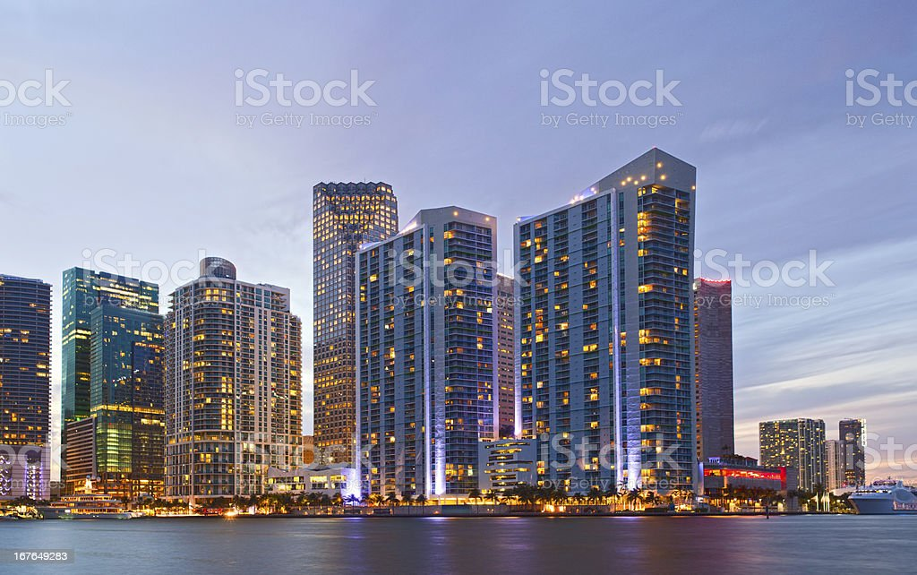 City of Miami Florida, downtown office buildings at sunset royalty-free stock photo