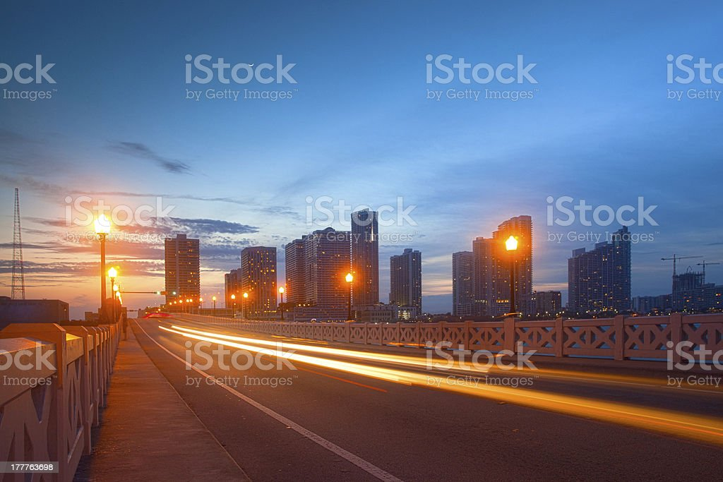 City of Miami Florida, moving traffic at sunset royalty-free stock photo