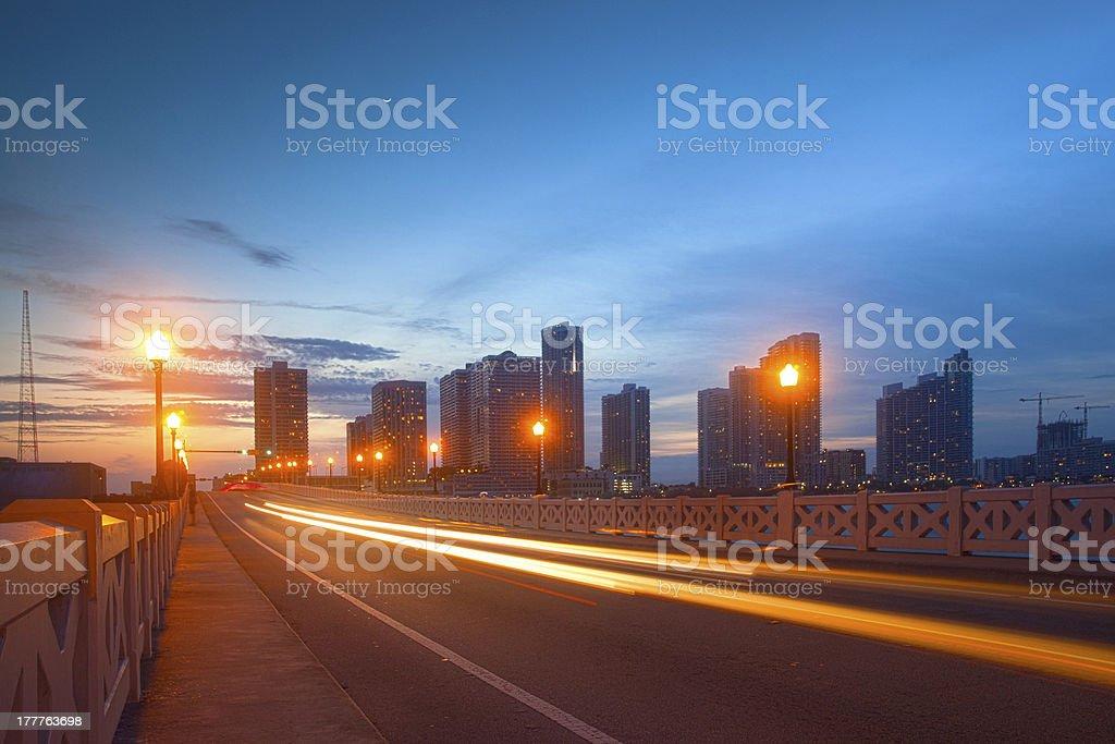 City of Miami Florida, moving traffic at sunset stock photo