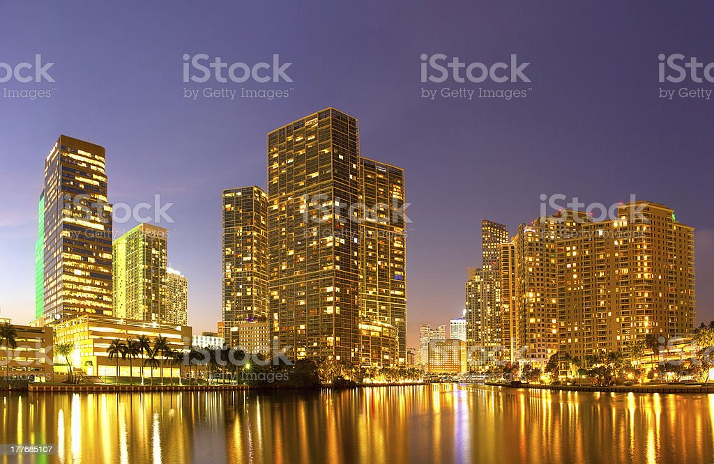 City of Miami Florida, night skyline panorama royalty-free stock photo