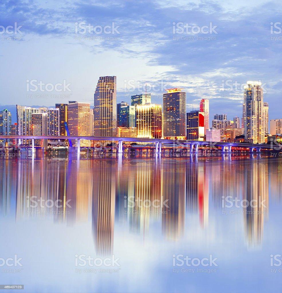 City of Miami Florida, night skyline. stock photo