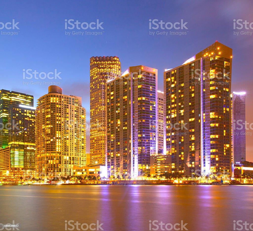 City of Miami Florida, night skyline stock photo