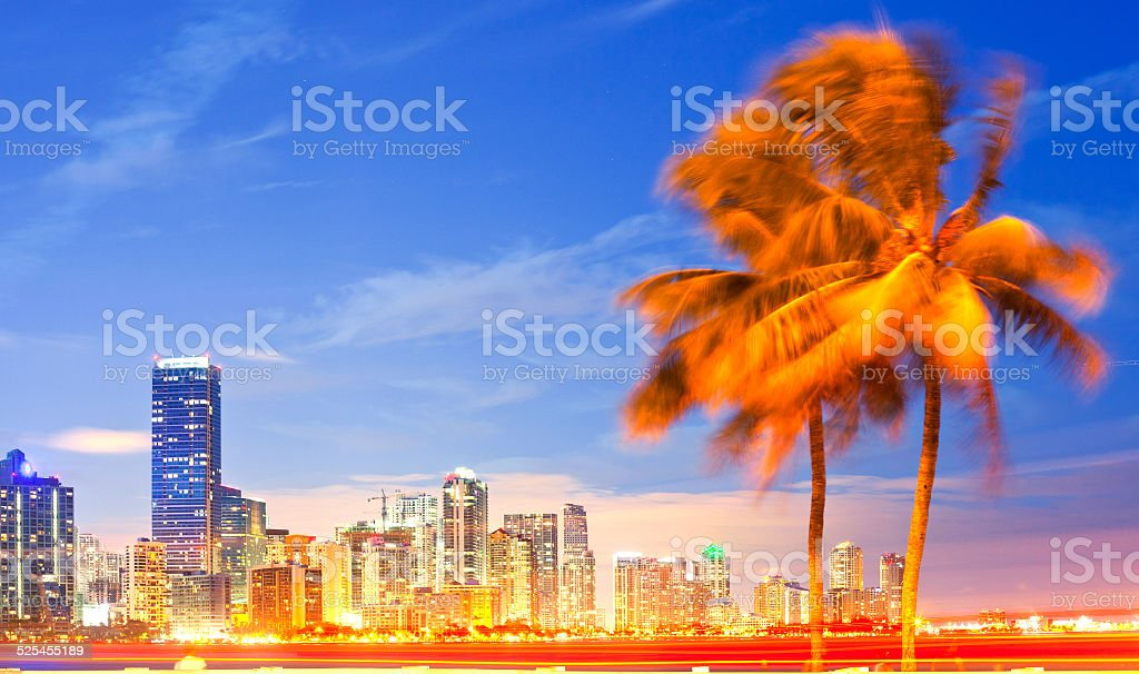 City of Miami Florida, night skyline stock photo