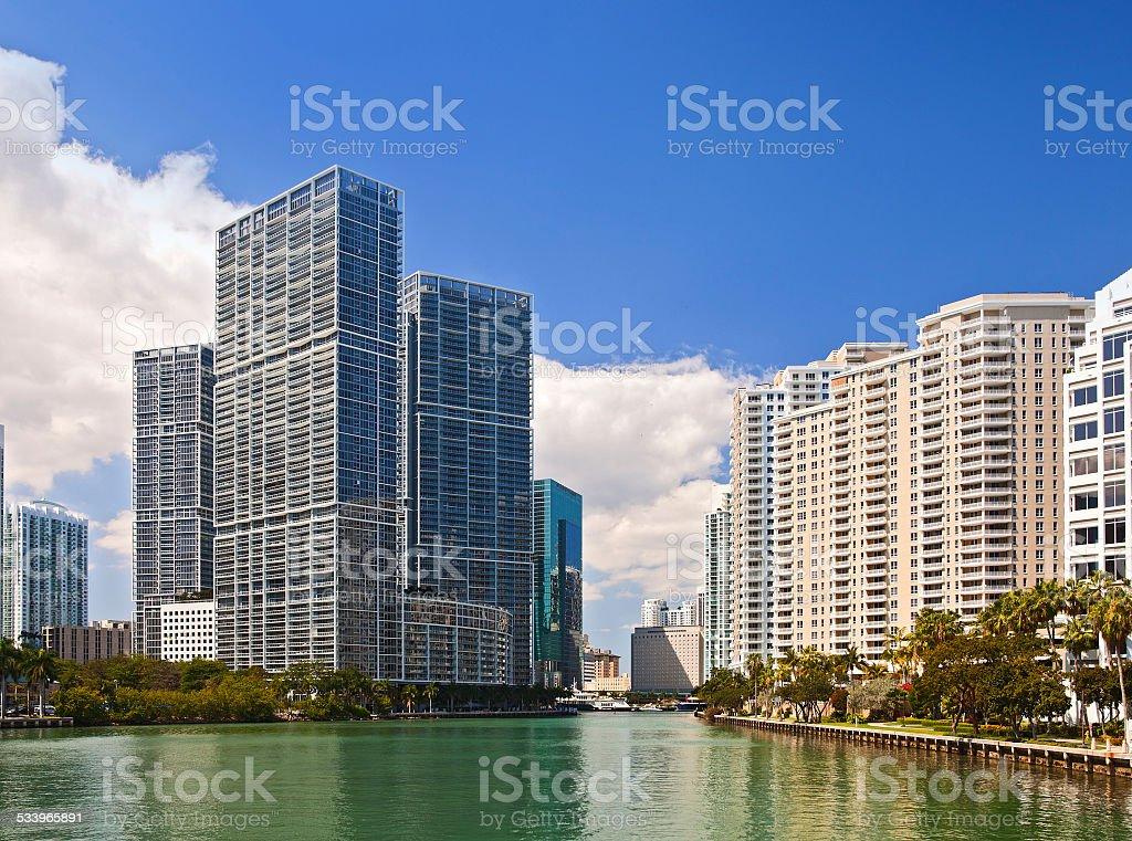 City of Miami Florida, summer panorama stock photo