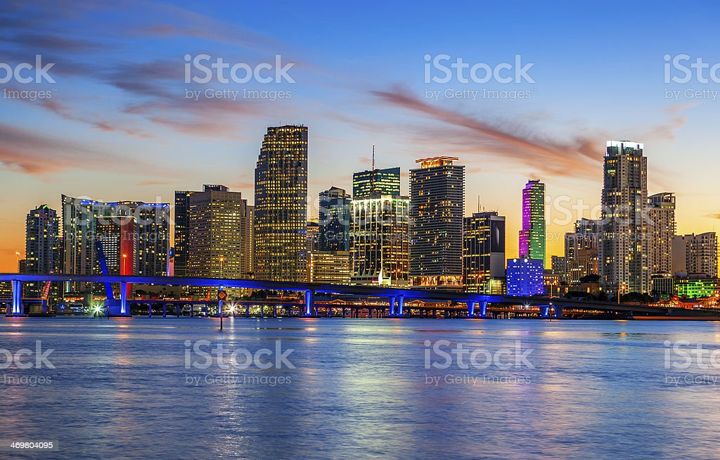 CIty of Miami Florida, summer sunset stock photo