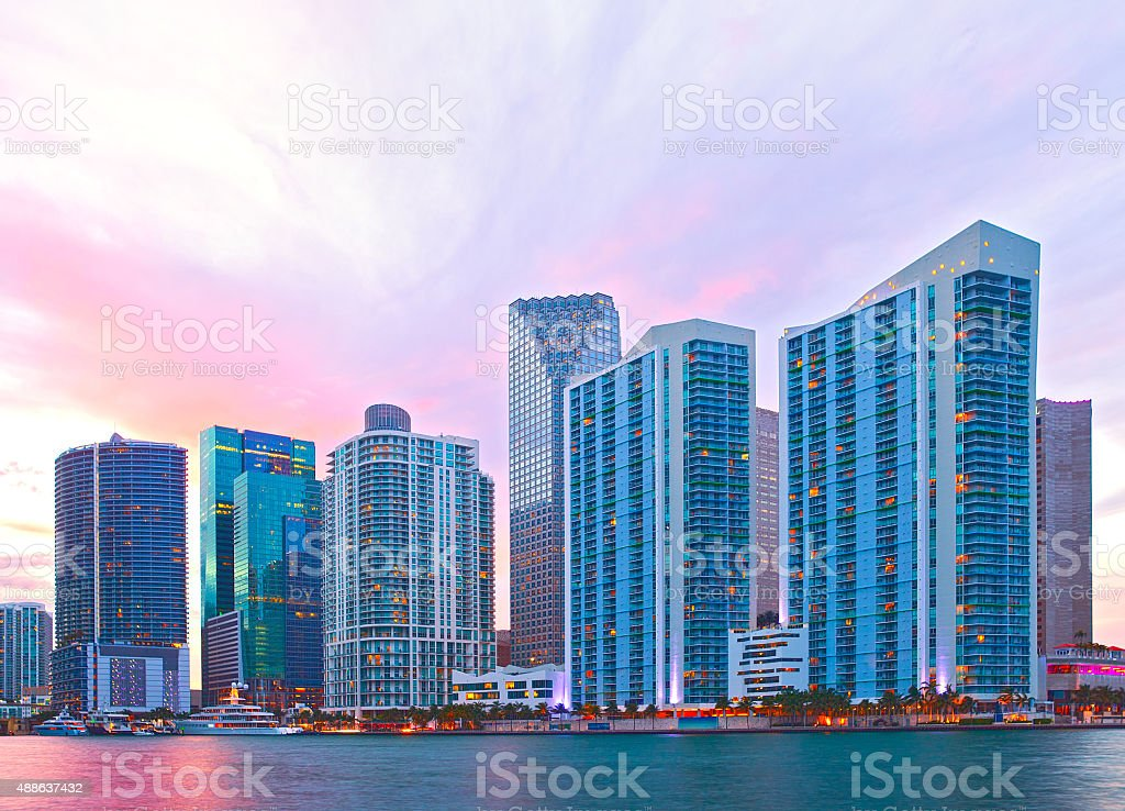 City of Miami Florida, sunset skyline stock photo