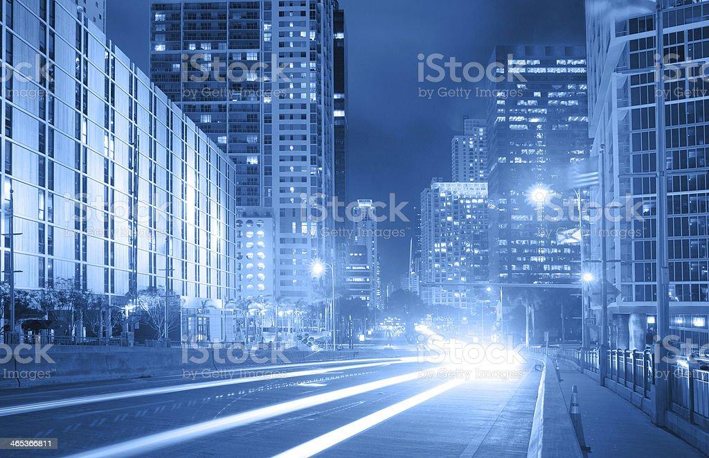 City of Miami Florida, traffic moving through downtown stock photo