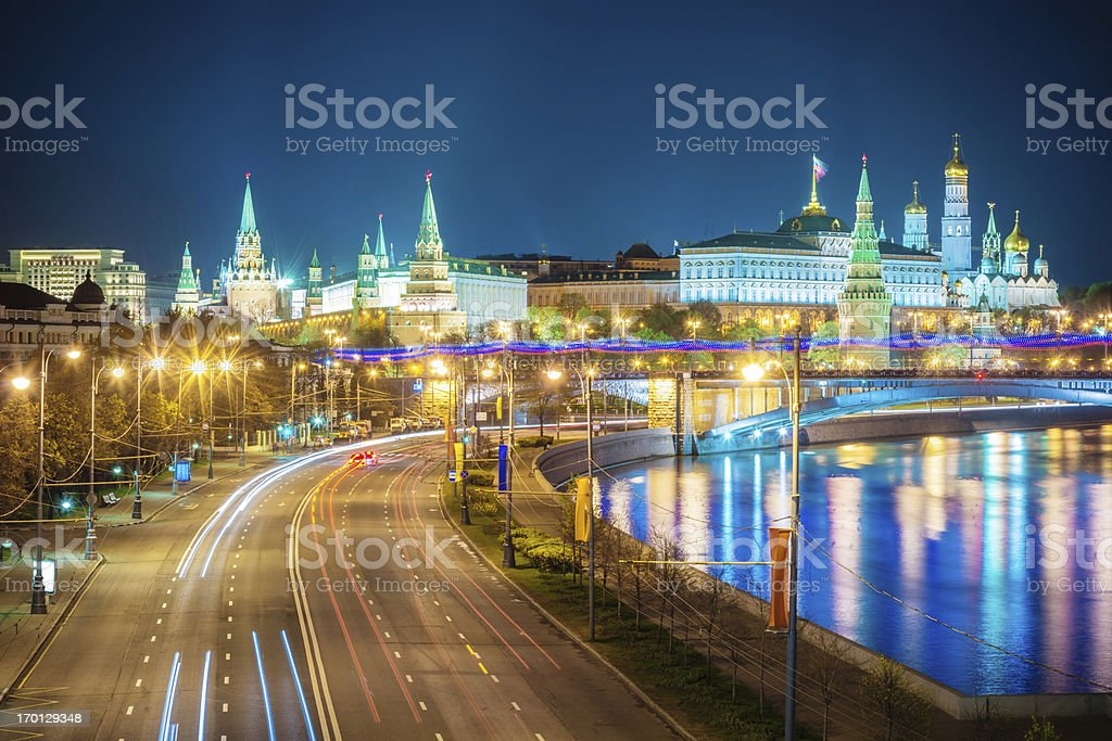 City of Moscow Kremlin at Night,Russia royalty-free stock photo