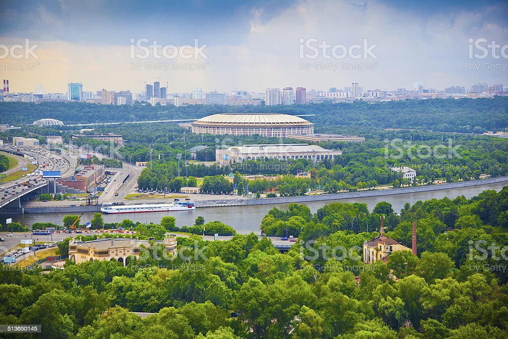 City of Moscow. Moscow River, Luzhniki sports complex stock photo