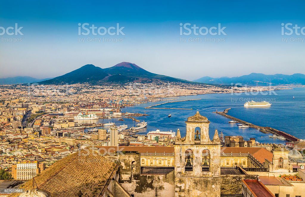 City of Naples with Mt. Vesuvius at sunset, Campania, Italy stock photo