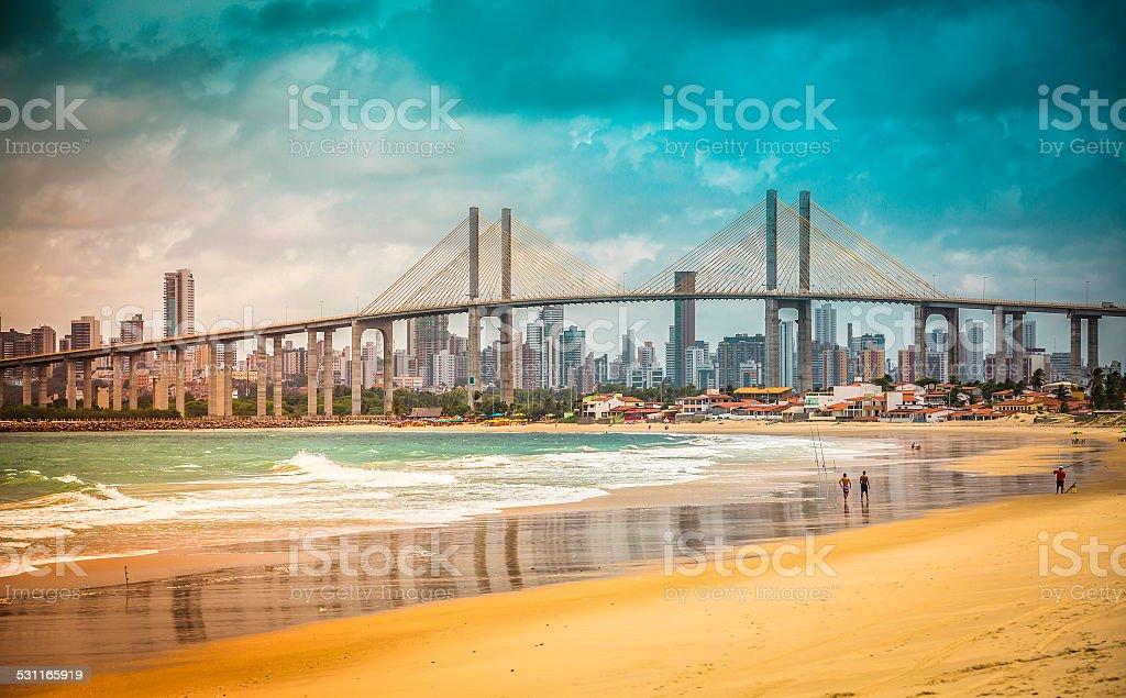 City of Natal beach with Navarro Bridge, Brazil stock photo