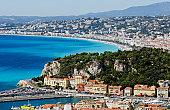 City of Nice overlooking bay under blue sky