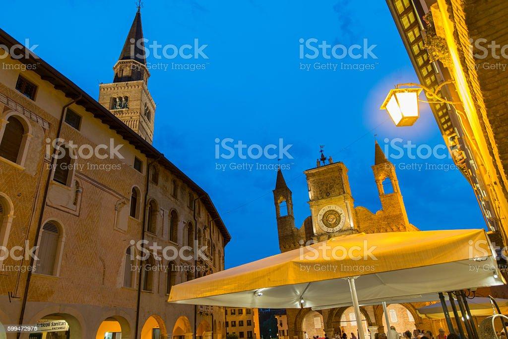 City of Pordenone dusk stock photo