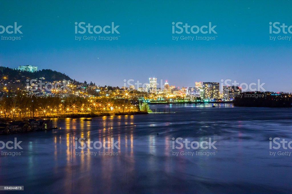 City of Portland at Night, From South, framed with Willamette stock photo