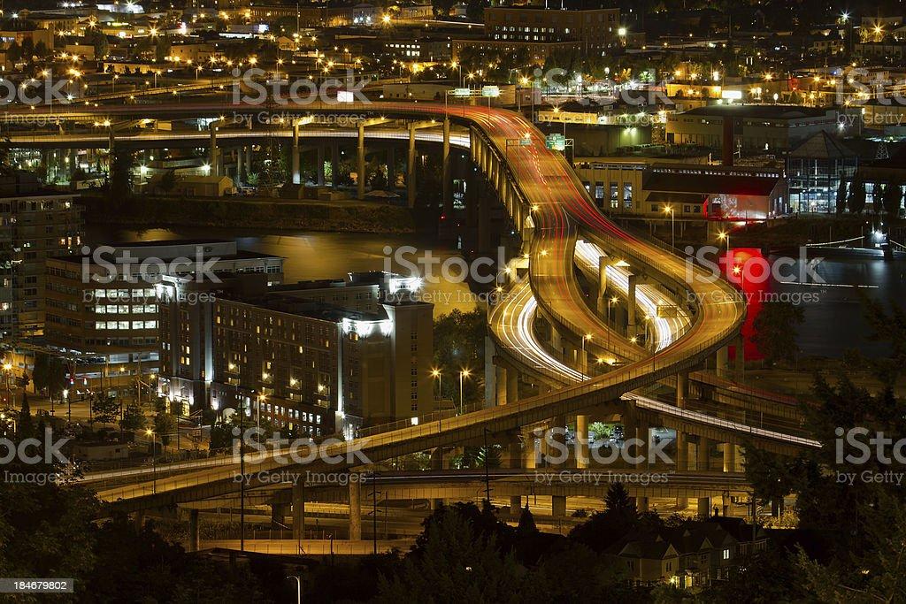 City of Portland Light Trails on Marquam Freeway royalty-free stock photo