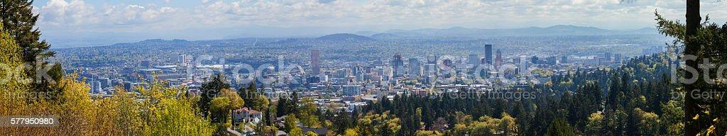 City of Portland Oregon Panorama stock photo