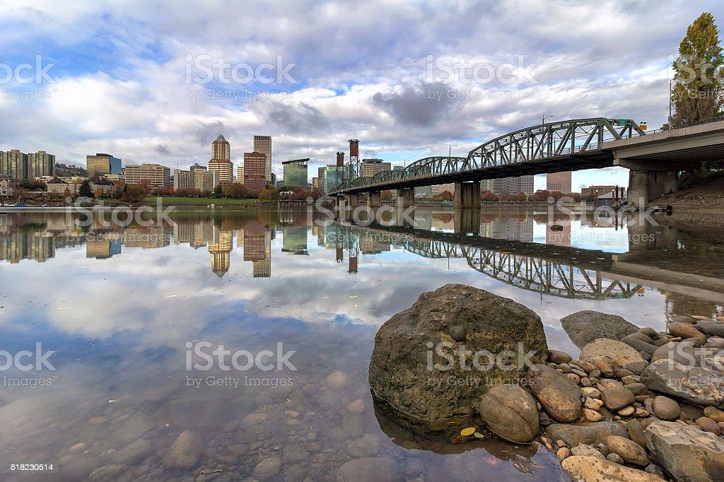 City of Portland Oregon Reflection stock photo