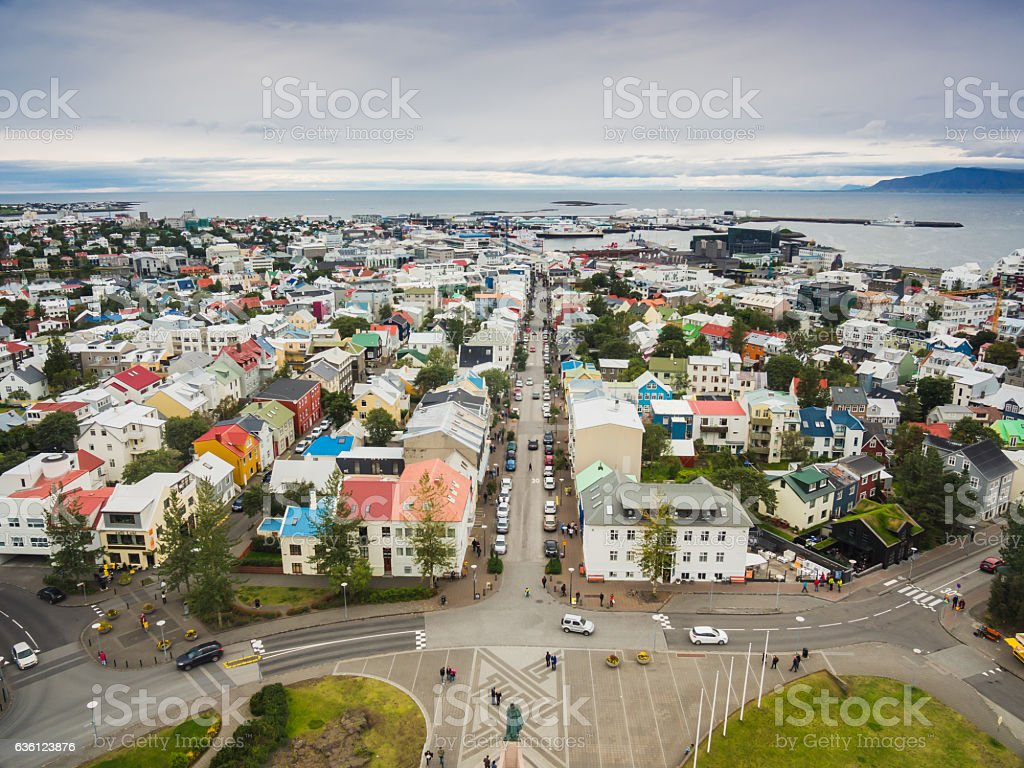 City of Reykjavik from the top stock photo