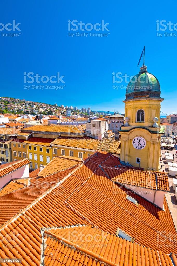 City of Rijeka clock tower and central square panorama, Kvarner bay, Croatia stock photo