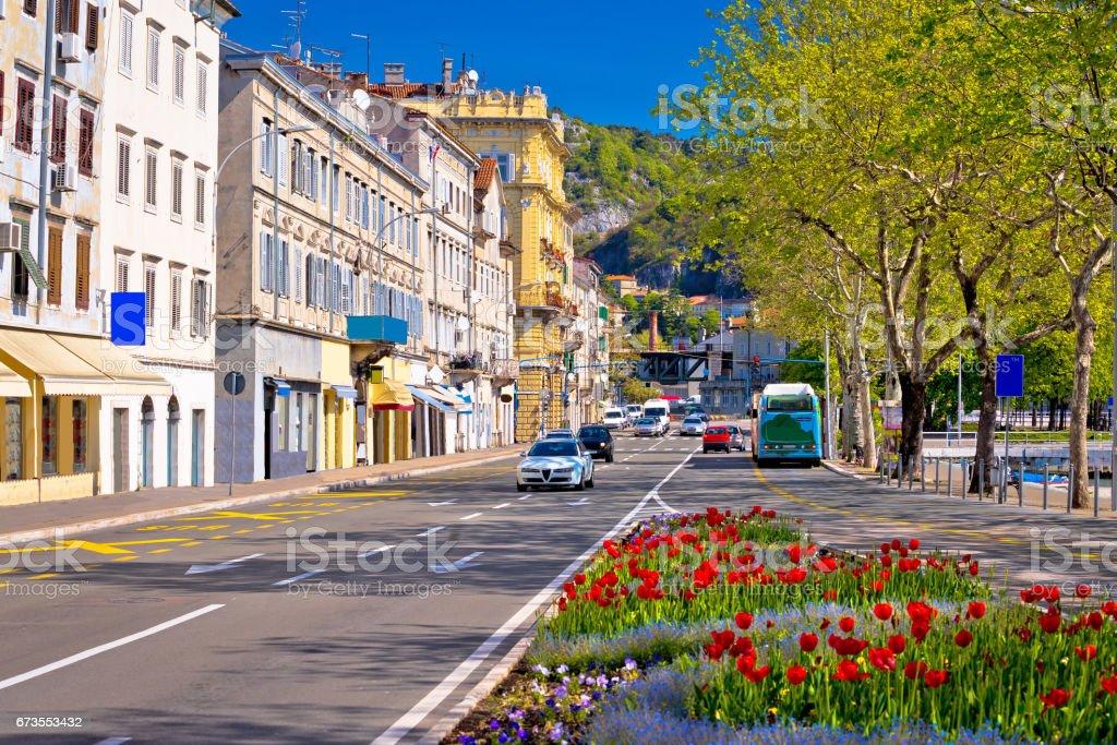 City of Rijeka Delta street view in springtime, Kvarner bay, Croatia stock photo
