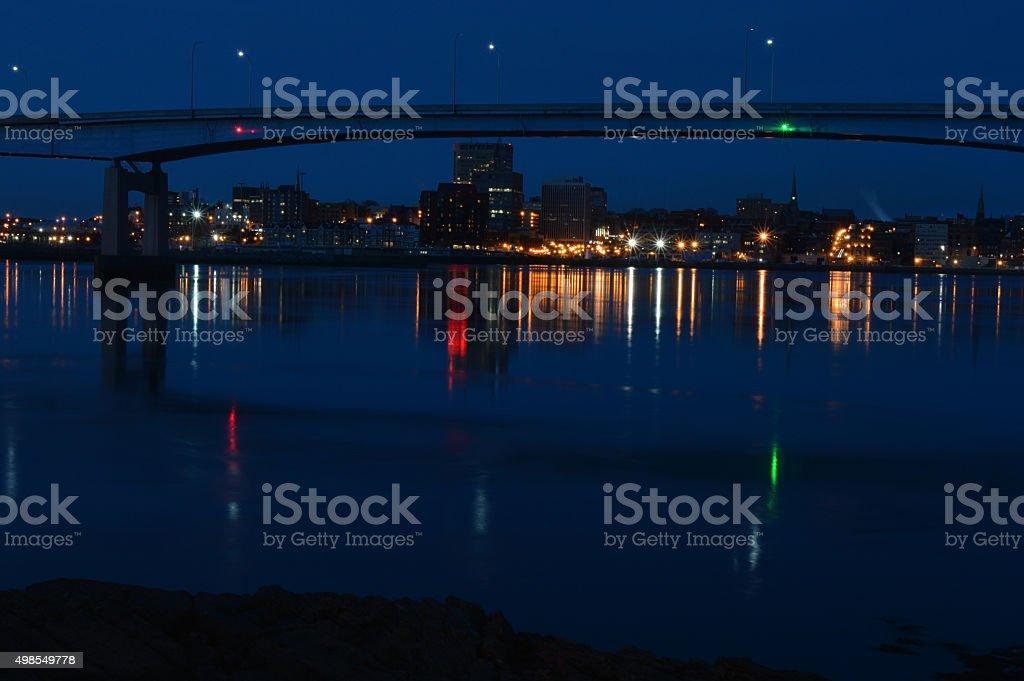 City of Saint John at night stock photo