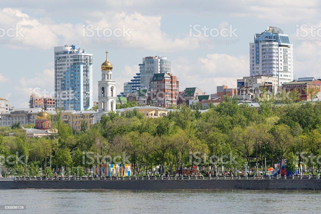 City of Samara with the Volga river stock photo