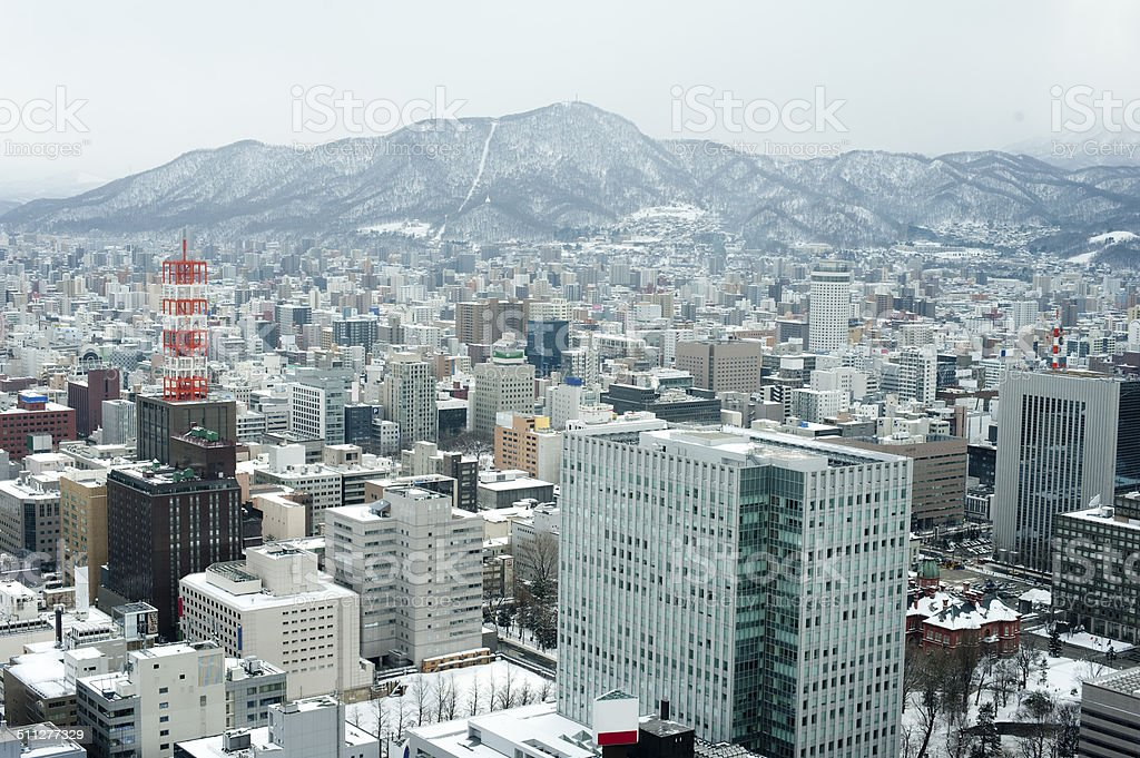 City of Sapporo as viewed from the JR Tower stock photo