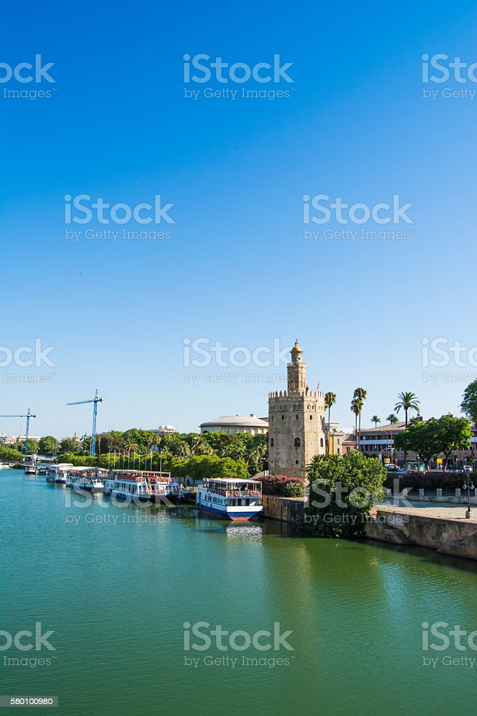 City of Seville with the Torre del Oro and Seville stock photo
