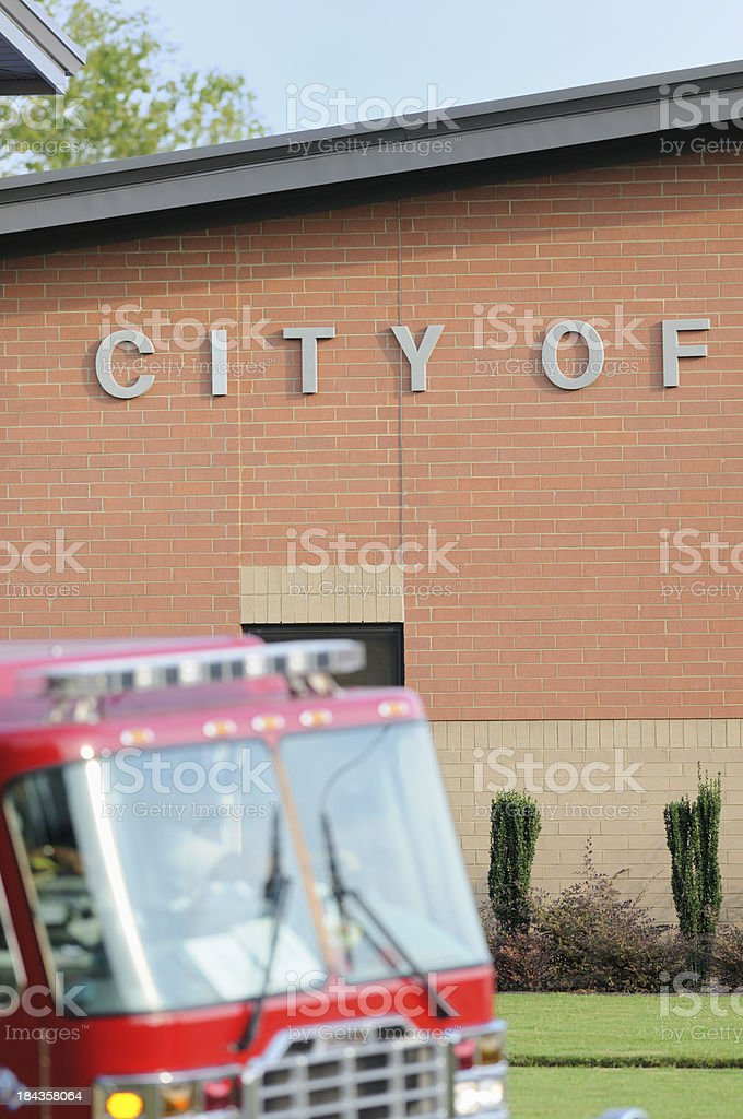 City of sign with fire truck stock photo