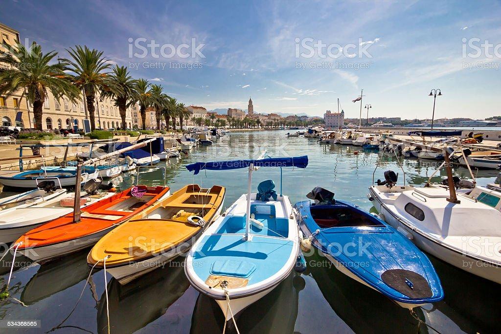 City of Split colorful harbor view stock photo
