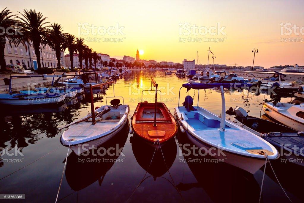 City of Split Riva at sunrise, landmarks silhouette, Dalmatia, Croatia stock photo