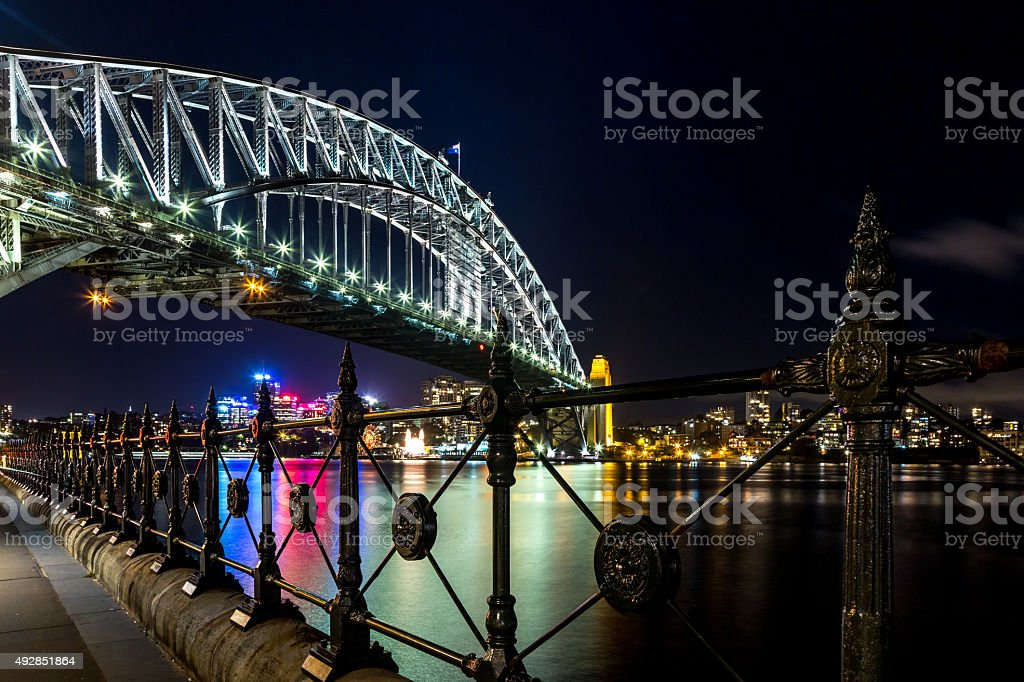 City of Sydney Cityscape and Harbour Bridge at Dusk stock photo