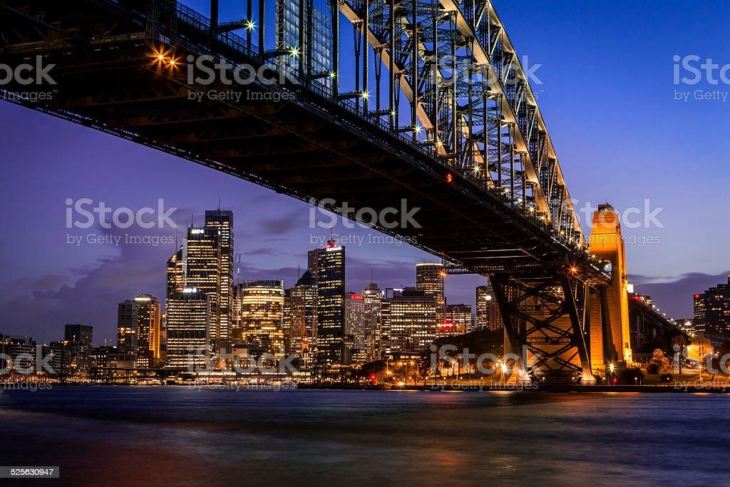City of Sydney Cityscape and Harbour Bridge at Dusk stock photo