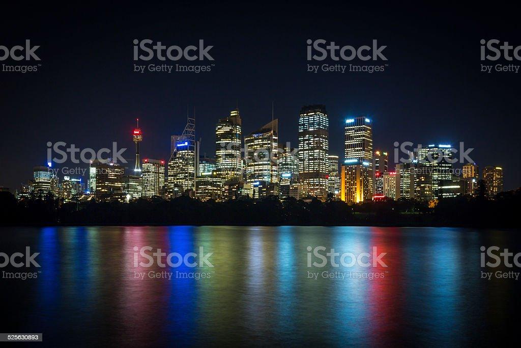 City of Sydney Cityscape at Night, Australia stock photo