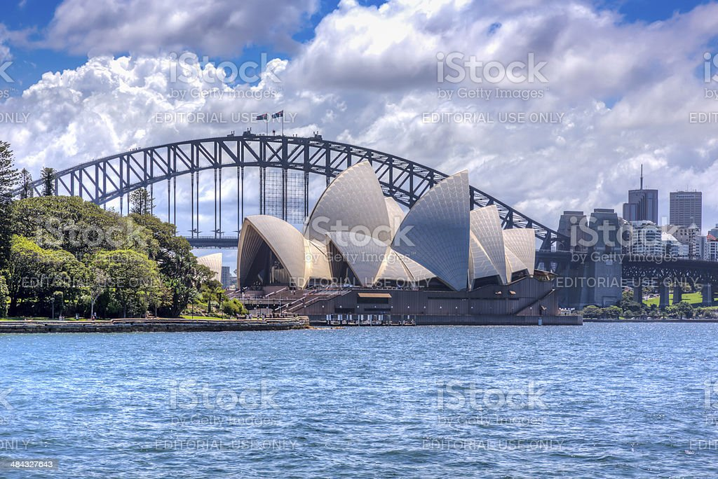 City of Sydney Opera House and Harbour Bridge at Daytime stock photo