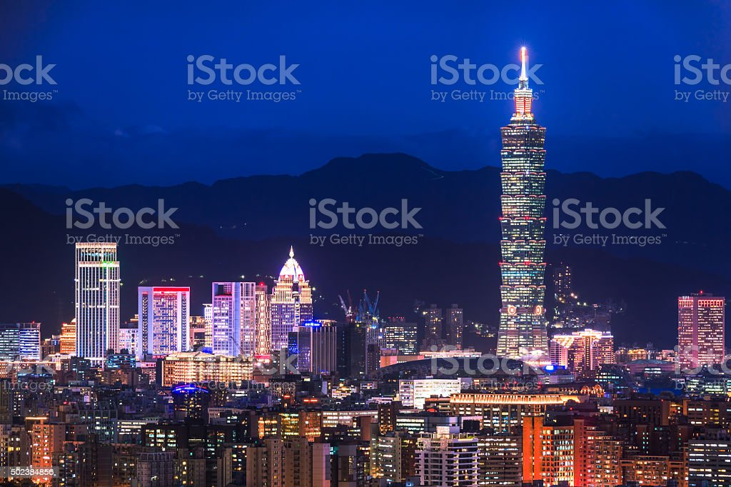 City of Taipei at night stock photo