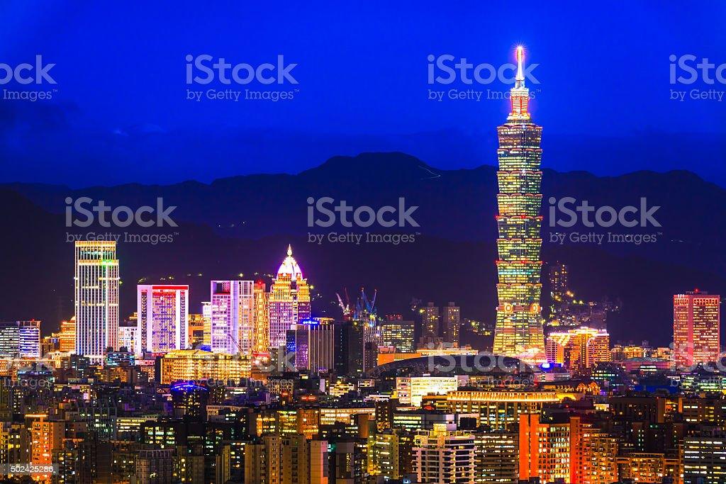 City of Taipei at night,Taipei,Taiwan stock photo