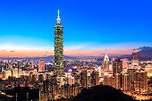 City of Taipei skyline at night