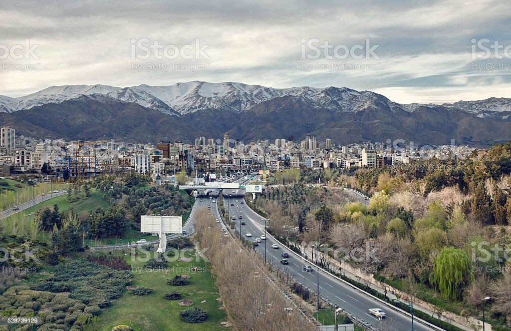 City of Tehran and Its Highways and Skyline stock photo