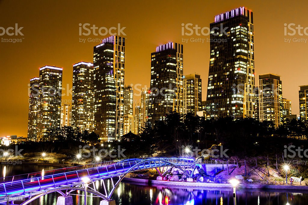 City of the Future Songdo South Korea in night stock photo