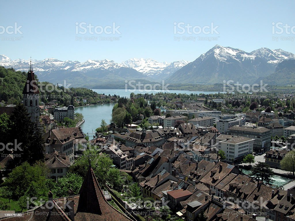 city of thun stock photo