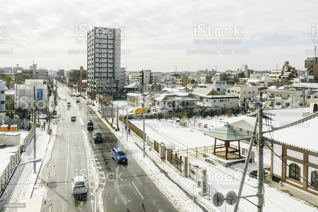 City of Tokyo covered in snow stock photo
