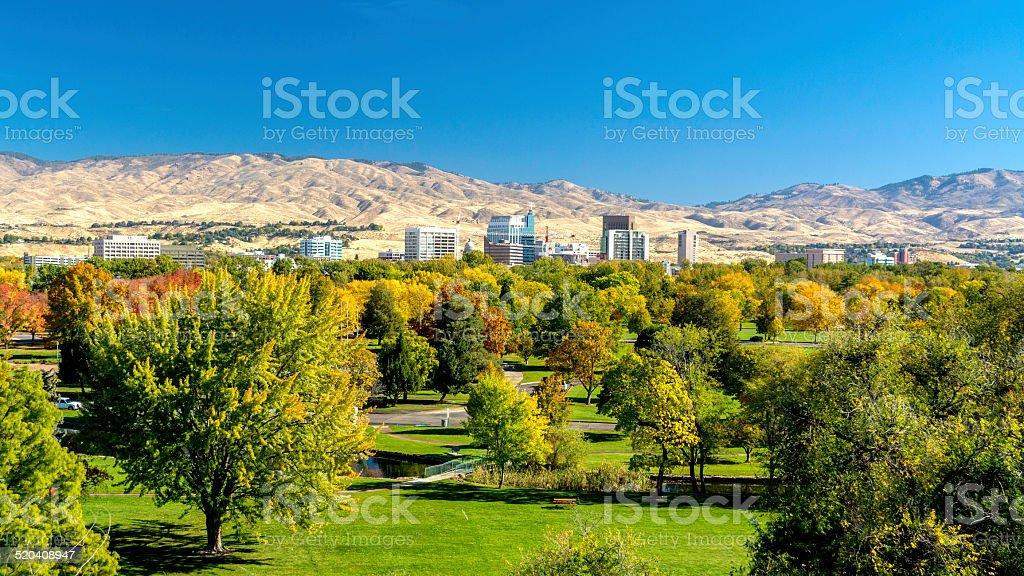 City of Trees Boise Idaho in Fall colors stock photo