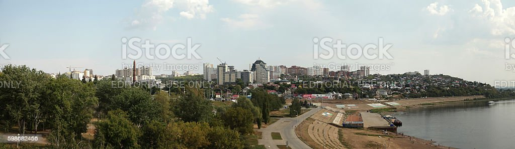 City of Ufa with the embankment of the river Agidel stock photo