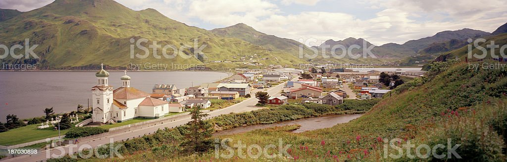 City of Unalaska in Summertime stock photo