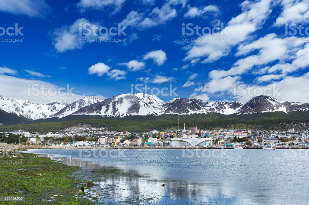 City of Ushuaia, Patagonia, Argentina on a sunny day stock photo