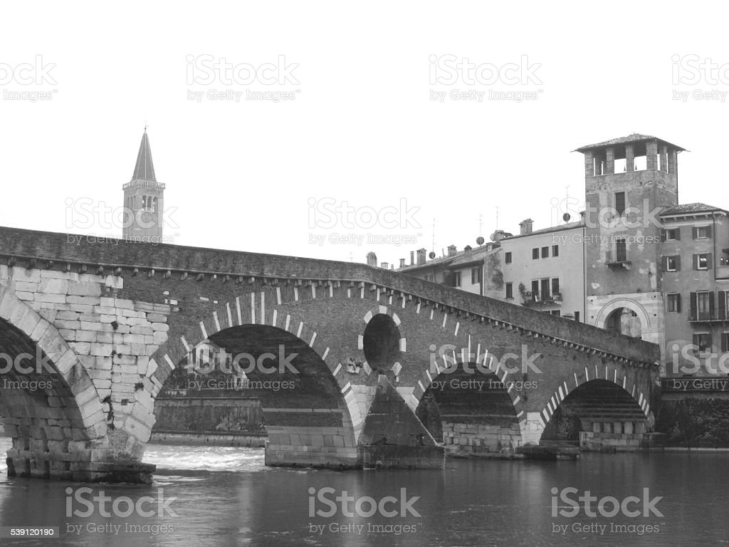 City of Verona, old photo. stock photo