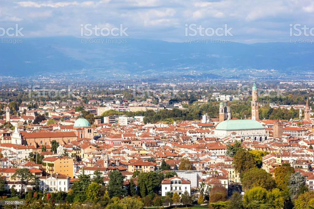 City of Vicenza from Monte Berico stock photo