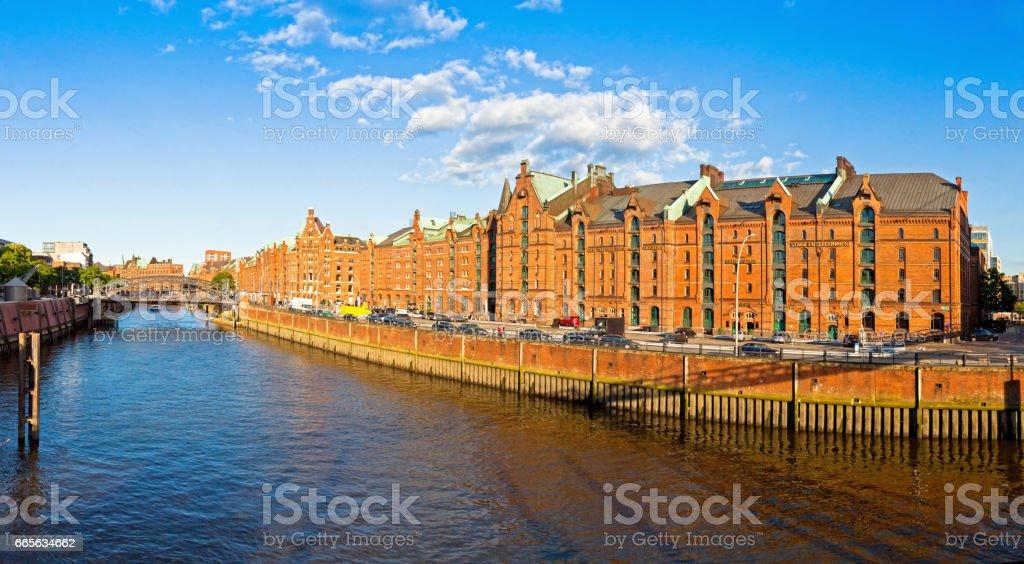 City of Warehouses district (Speicherstadt) in Hamburg stock photo