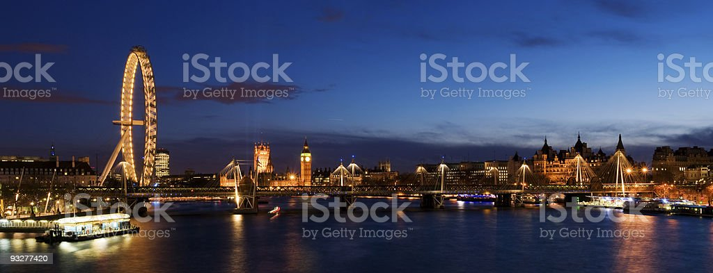 City of Westminster  at Twilight.(Big Ben, London Eye) royalty-free stock photo